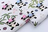 """Ткань муслин """"Панды в розовых шляпах под бамбуковыми деревьями"""" на белом, ширина 180 см, фото 4"""
