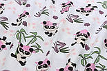 """Ткань муслин """"Панды в розовых шляпах под бамбуковыми деревьями"""" на белом, ширина 180 см, фото 2"""