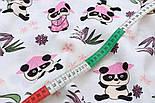 """Ткань муслин """"Панды в розовых шляпах под бамбуковыми деревьями"""" на белом, ширина 180 см, фото 3"""