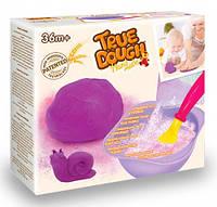 Сиреневое самодельное тесто для лепки натуральное, мерная ложка, миска для замешивания, TrueDough