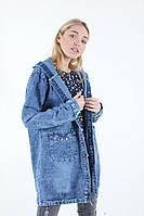 Джинсовый кардиган-куртка с капюшоном плотный джинс