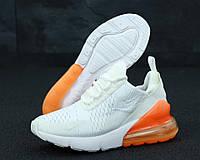"""Кроссовки женские Nike Air Max 270  """"Белые с оранжевым задником"""" найк аир макс р. 36-40, фото 1"""
