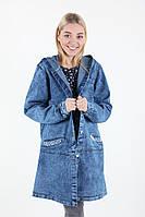 Батальная джинсовая куртка удлиненная с капюшоном