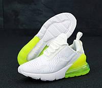 """Кроссовки женские Nike Air Max 270  """"Белые с желтым задником"""" найк аир макс р. 36-40, фото 1"""