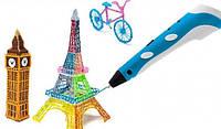 3D Ручка(3D pen-2) УЛУЧШЕННАЯ ВЕРСИЯ,очень удобно лежит в руке, цвет синий + 9 м нитей в ПОДАРОК!