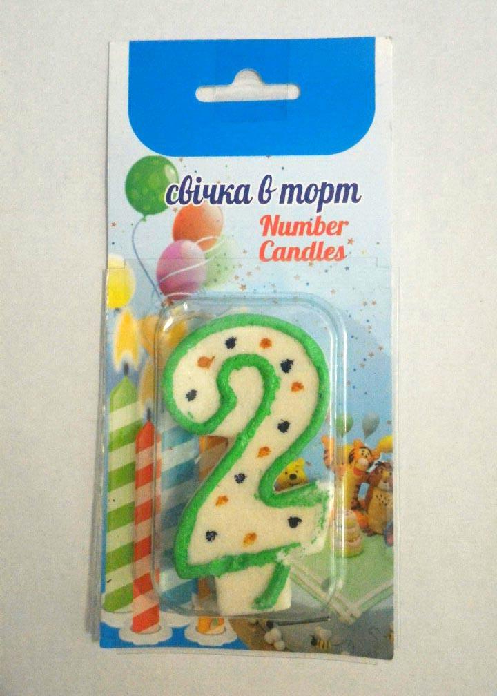 Свічка в торт 2 (два) Розмір:7х4