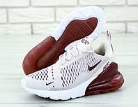 """Кроссовки женские Nike Air Max 270  """"Белые с бордовым задником"""" найк аир макс р. 36-41, фото 1"""