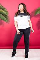 """Трикотажный спортивный женский костюм """"DIORE"""" с люрексом и футболкой (большие размеры)"""