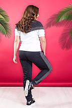 """Трикотажный спортивный женский костюм """"DIORE"""" с люрексом и футболкой (большие размеры), фото 2"""