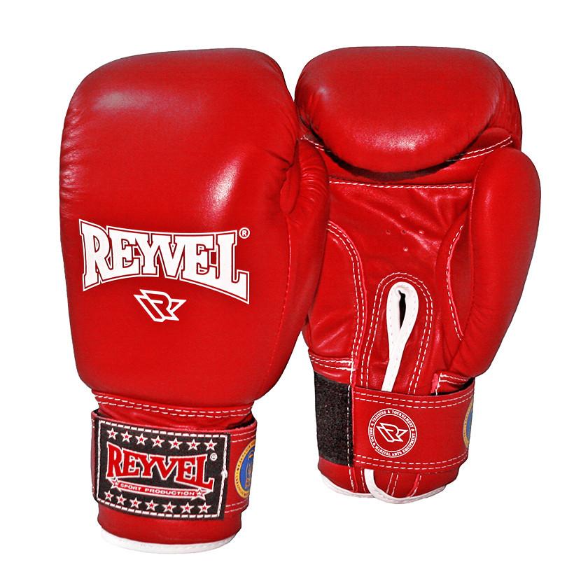 Боксерские перчатки Reyvel 10 oz красные  кожа