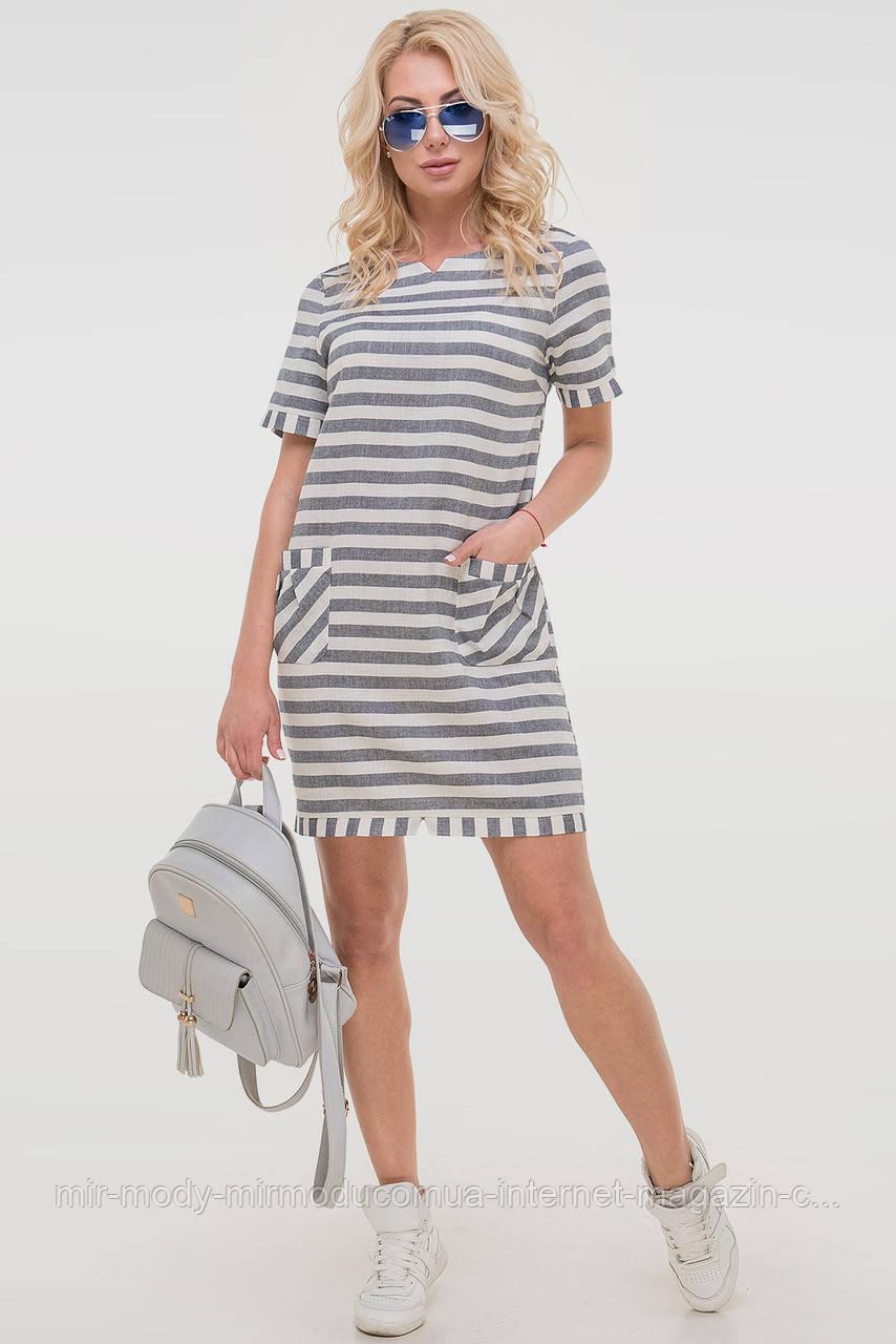 Летнее платье лен серого с белым цвета с 42 по 50  размер (влн)