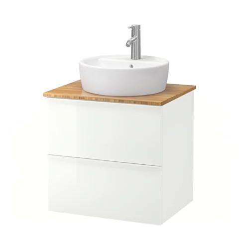Шкаф с раковиной IKEA GODMORGON / TOLKEN / TÖRNVIKEN 62x49x74 см с ящиками бамбук глянец белый 792.051.74