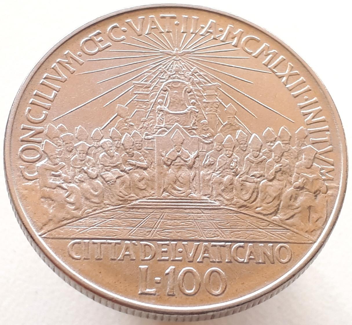 Ватикан 100 лир 1962 - Второй Вселенский собор
