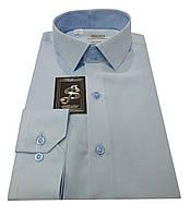 Рубашка мужская приталенная №10-12 - диагональ голубая, фото 1