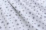 """Ткань муслин """"Звёздная россыпь"""" графитовая на белом, ширина 180 см, фото 2"""