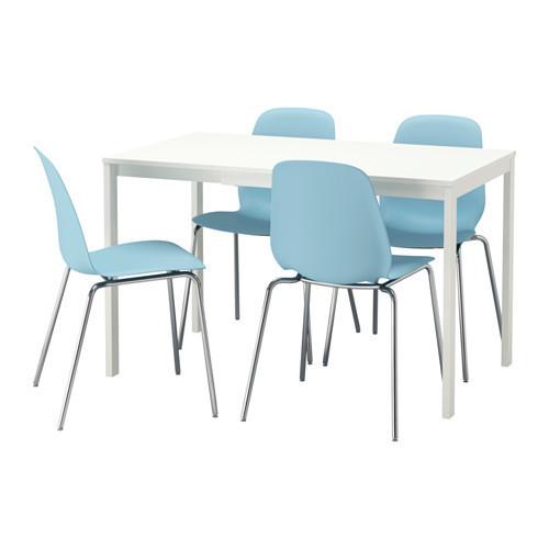 Стол и 4 стула, белый, голубой, 120/180 см IKEA VANGSTA / LEIFARNE 792.212.06