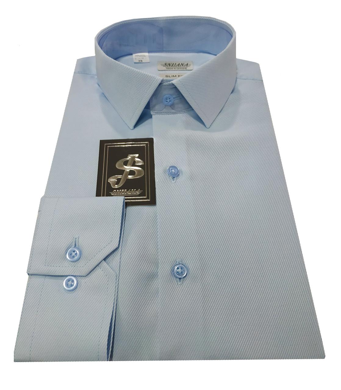 Рубашка мужская классическая диагональ голубая