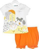 Летний комплект для девочки (футболка+шорты) 68,80,86,92 размер