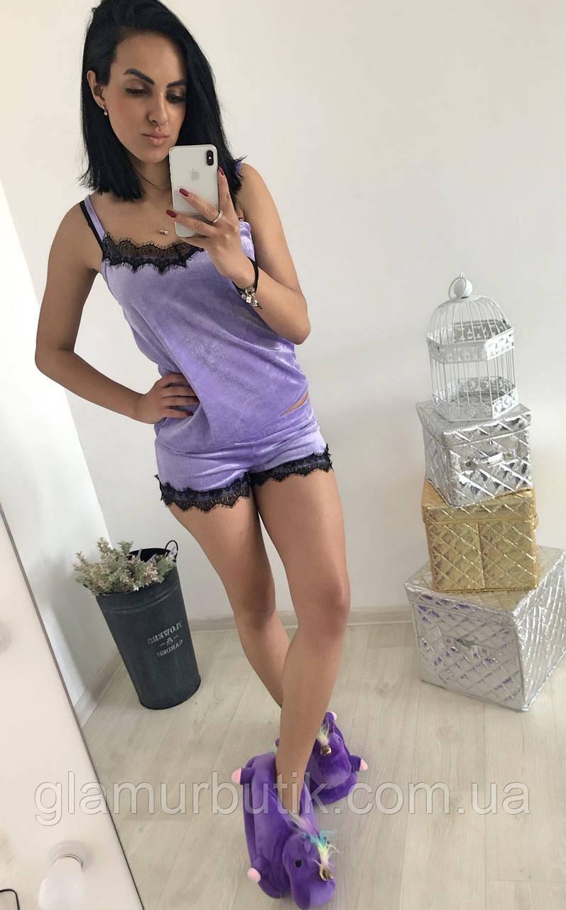 67c330370807 Бархатная женская пижама спальный комплект нижнее белье шорты маечка с  кружевом ...