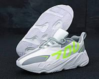 """Кроссовки мужские замшевые Adidas Yeezy Boost 700  """"Белые с салатовым"""" р. 41-45, фото 1"""