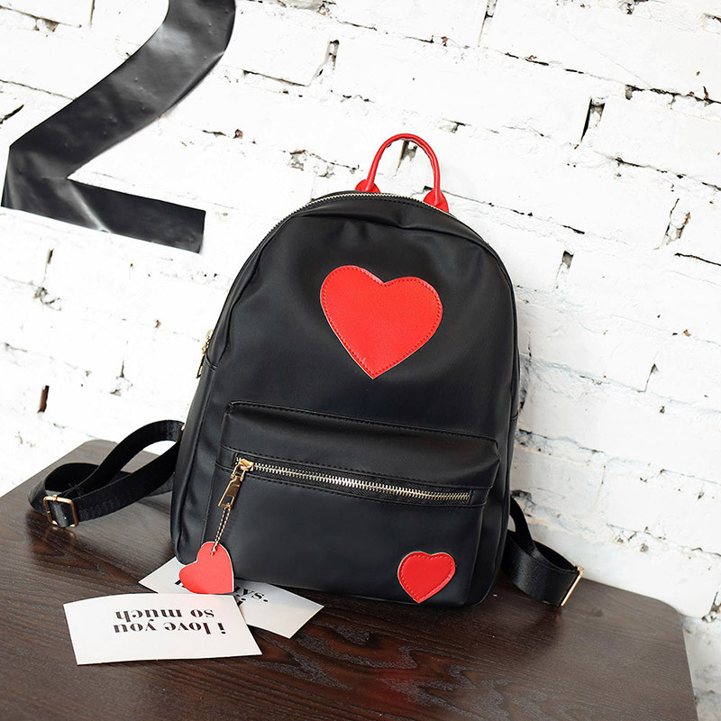 6a10155b808a Рюкзак городской черный 33х27х10 см Сердечки ( маленькие рюкзаки ) - Bigl.ua