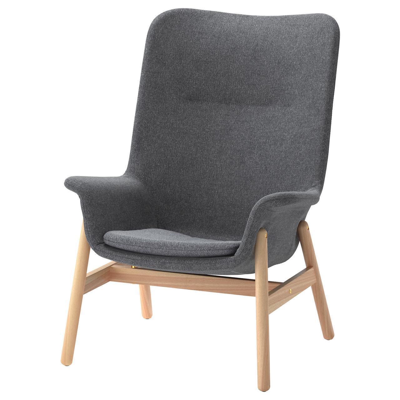 Кресло IKEA VEDBO Gunnared мягкое с высокой спинкой темно-серое 803.411.75
