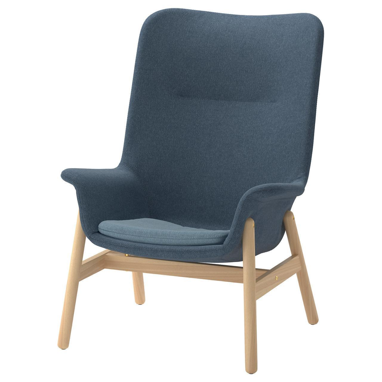 Кресло IKEA VEDBO Gunnared мягкое с высокой спинкой синее 404.235.83