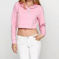 Кроп топ женский спортивный с капюшоном розовый