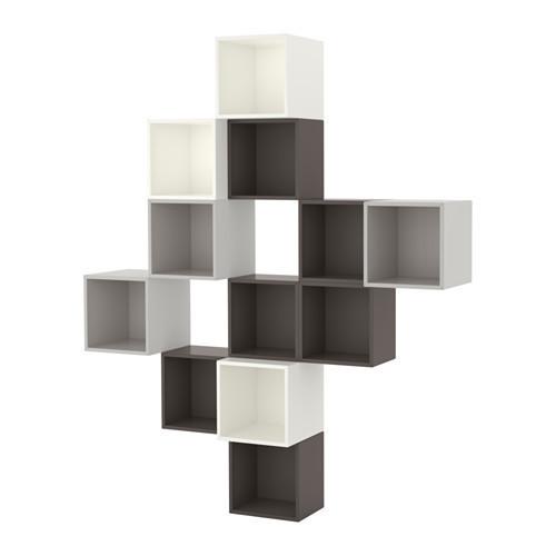 Поєднання настінних шаф, білий/темно-сірий, світло-сірий, 175x35x210 см IKEA EKET 191.891.53