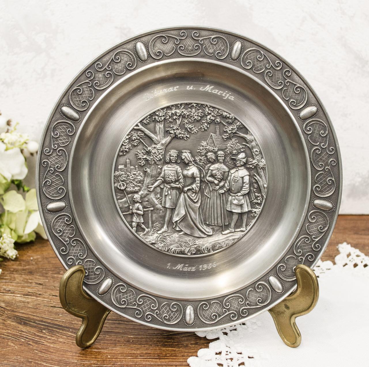 Оловянная настенная тарелка, пищевое олово, Германия, свадьба