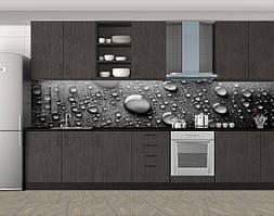 Кухонный фартук Крупные капли, Защитная пленка на кухонный фартук с фотопечатью, Текстуры, фоны, серый