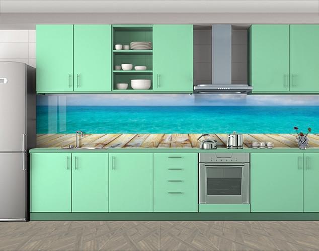 Кухонный фартук Набережная доски и голубая вода, Пленка для кухонного фартука с фотопечатью, Природа, голубой