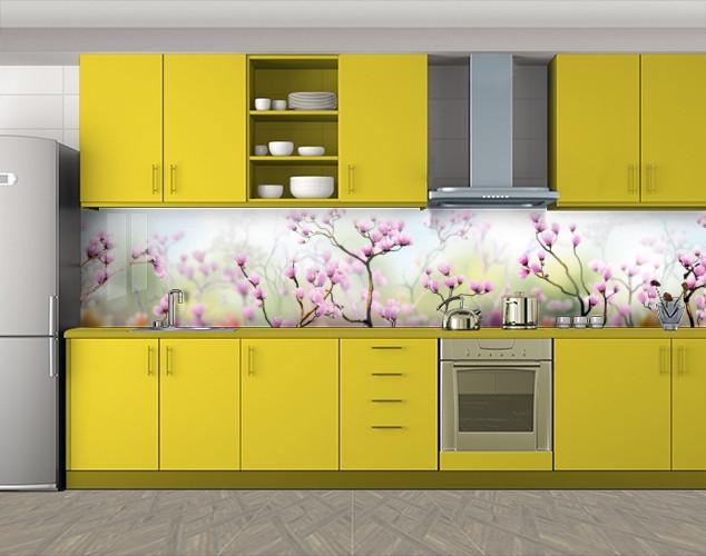 Кухонный фартук Поле нежных розовых цветов, Скинали с фотоизображением на самоклеящейся пленке, Природа, розовый