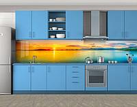 Кухонный фартук Закат на турецком побережье, Самоклеящаяся стеновая панель для кухни, Море, пляж, оранжевый