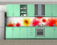 Кухонный фартук Пышные цветы, Самоклеящаяся стеновая панель для кухни, Цветы, красный