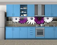 Кухонный фартук Яркие хризантемы, Самоклеящаяся скинали с фотопечатью, Цветы, фиолетовый