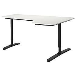 Комп'ютерний стіл IKEA BEKANT 160x110 см кутовий білий чорний 090.064.27