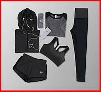 Женская компрессионная одежда для фитнеса 5в1 Леггинсы / Лосины Бра Футболка Шорты Худи