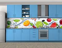 Кухонный фартук Цитрусы и ягоды в воде, Пленка самоклеящаяся для скинали, Еда, напитки, белый, фото 1