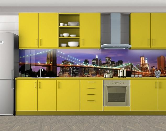 Кухонный фартук Мост ночного города, Пленка для кухонного фартука с фотопечатью, Мосты, фиолетовый