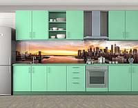 Кухонный фартук Мост и город, Защитная пленка на кухонный фартук с фотопечатью, Мосты, бежевый