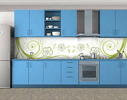 Кухонный фартук Цветочные завитки, Стеновая панель для кухни с фотопечатью, Абстракции, зеленый