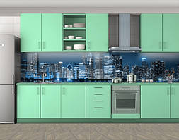 Кухонный фартук Синие огни города, Стеновая панель для кухни с фотопечатью, Город ночью, синий