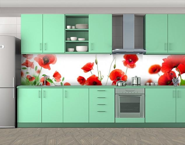 Кухонный фартук Маки на белом фоне, Наклейка на кухонный фартук, Цветы, белый
