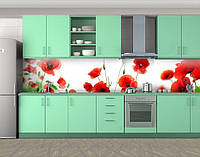 Кухонный фартук Маки на белом фоне, Наклейка на кухонный фартук, Цветы, белый, фото 1