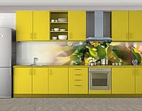 Кухонный фартук Цветущее дерево на рассвете, Пленка самоклеящаяся для скинали, Цветы, желтый
