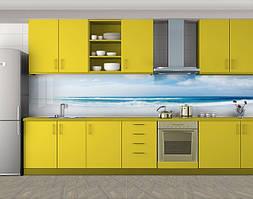 Кухонный фартук Морские волны, Фотопечать кухонного фартука на самоклейке, Море, пляж, голубой