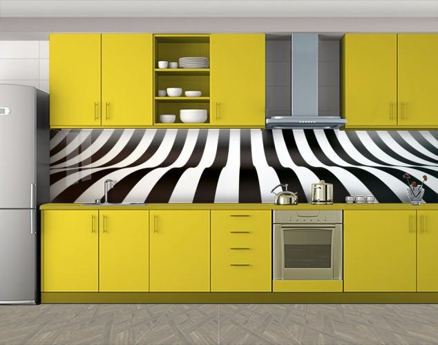 Кухонный фартук Пианино, черно-белые линии, Самоклеящаяся стеновая панель для кухни, Абстракции, черный