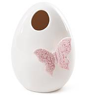 Ваза фарфоровая с бабочкой, 14см, цвет - белый с розовым