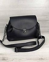 Сумочка жіноча чорна через плече, ультрамодна м'яка сумка маленька чорна молодіжна міні крос боді, фото 1